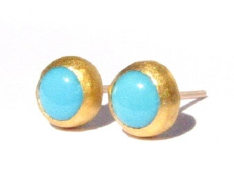 Natural Turquoise Studs- 24k Solid Gold-Post Earrings-Turquoise Yellow Gold Studs-24k Gold Earrings-Gold silver Post Earrings-MADE TO ORDER.