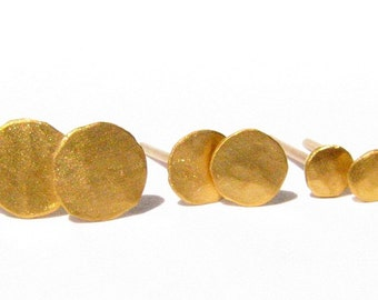 Solid 24k Gold studs - Post Earrings - 5 mm - Yellow Gold Studs - Pure Gold Post Earrings - Made To Order (within few days).