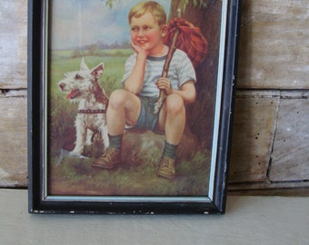Vintage Terrier Dog an Little Boy Running Away Picture Adorable