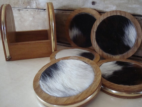 Wooden Coasters With Cowhide