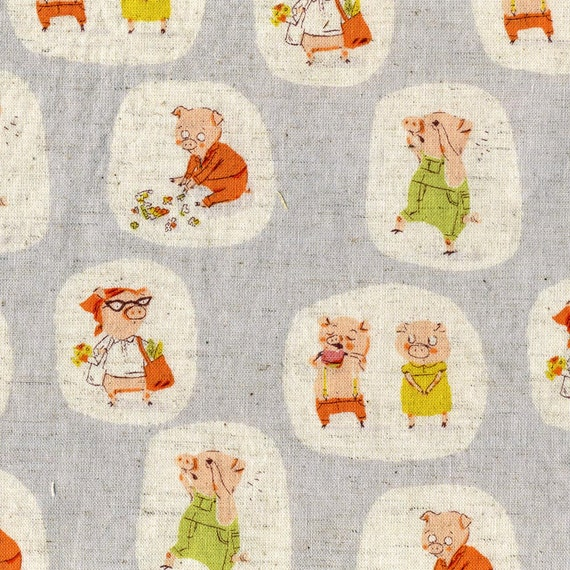 Fall Sale - Heather Ross Fabric Nursery Versery Pigs in Blue Yardage - End of Bolt over 46 inches