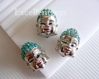3pcs,White gold plated-High quality Lake Blue Cyrstal Rhinestones buddha bead