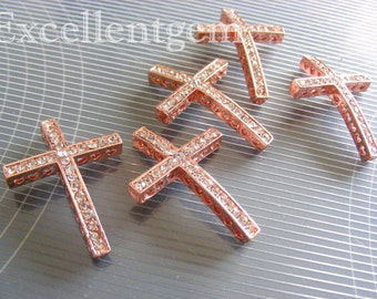 5pcs, Bulk Price, High quality rose gold plated sideways Cross Bracelet Connector in rose gold color--SHIPPING FROM U.S.
