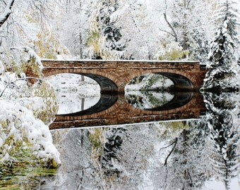 Winter Photography, Bridge , Winter , Snow Storm Reflection , Winter Is Coming , Wall Art , Winter , Snow White , Holiday Decor