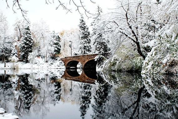 Winter photography, WINTER FANTASY,Renaissance , white snow, Holiday decor, bridge photography, Christmas, minimalist, home 8 by12