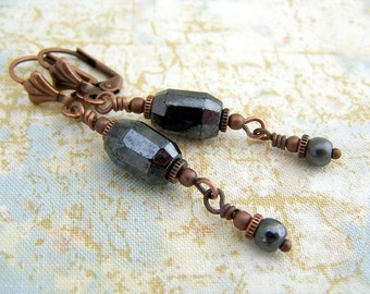 Gunmetal & Copper Earrings - Czech glass beads wire wrapped in oxidized copper with tiny gears - clip on steampunk earrings