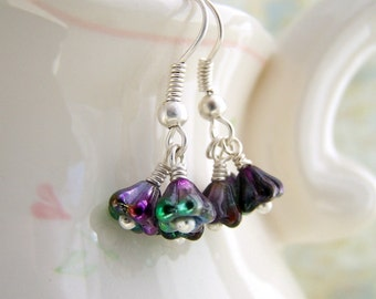 Variegated Flower Fairy earrings with purple, green and magenta czech glass beads wire wrapped in silver tones