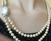 50s Double Strand Faux Pearls with Cameo Brooch Clasp