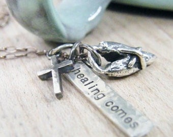 healing comes recovery necklace with healed heart and tiny cross
