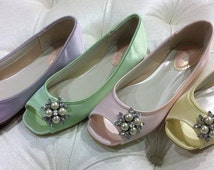 Dyeable Wedding Shoes - Custom Color - Over 100 Colors - Flat Wedding Shoes - Flat Bridal Shoes - Peep Toe Flats - Ballet Peep Toe Flats