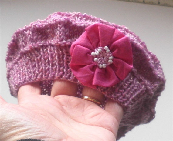 Baby Girl Beret - Pink Baby Girl Hat with Pink Flower - Hand Knit - Baby Autumn Hat - Baby Knit Hat - Infant Pink Knitted Hat - Fall Fashion