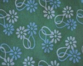 RESERVED LISTING--Green, Aqua, and White Flower Swell Quilt Cotton Fabric--1/2 yard for bags, purses, quilts, projects