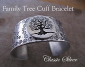 Family Tree Cuff Bracelet - Personalize with your Families' Names and Sentiment