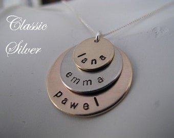 Custom 3 Stacked Bronze and Silver Family Name Necklace