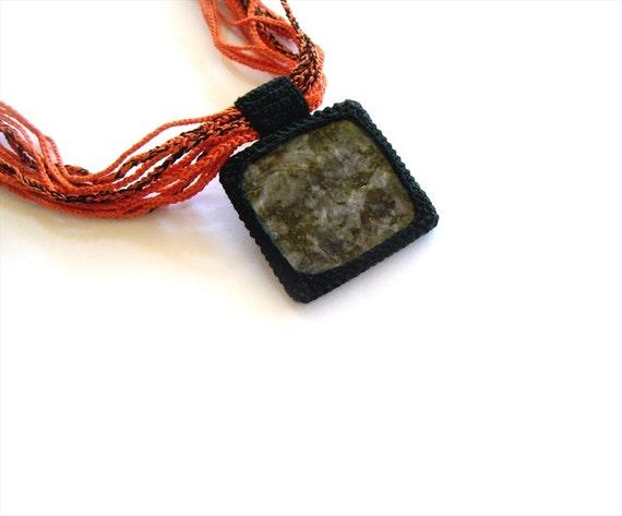 Granite Stone Square Pendant Necklace Black Gray Orange, Crochet Multi Strand Necklace