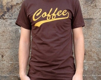 Coffee Breakfast T-shirt, Men's American Apparel Brown Tee