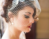 Birdcage Veil - IVORY OR WHITE - with hair comb