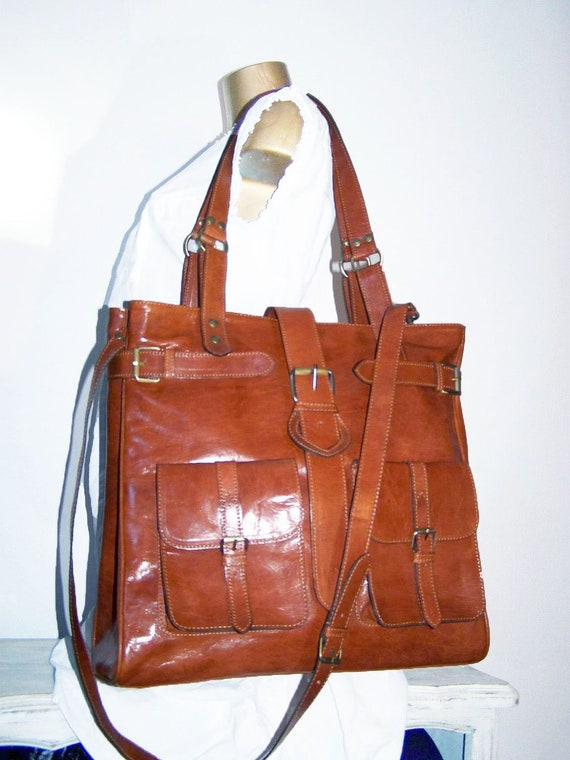 "CARAMEL LEATHER TOTE, Handbag, Shoulder, Cross-body Bag Orea Xl in tan fits a 15"" laptop"