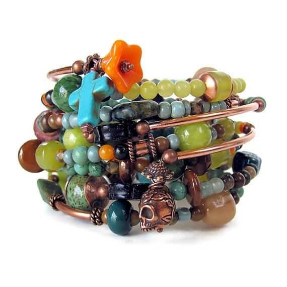 Day of the Dead bracelets beaded memory wire bracelet stack southwestern jewelry Dia de los Muertos jewelry unique jewelry
