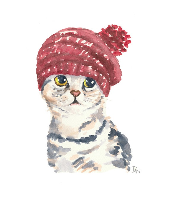 Cat Watercolor Original Painting Knit Hat Silver Tabby Cat