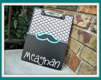 Personalized Back to School Mustache / Chevron Clipboard Birthday, Graduation, Gift, Teens, College
