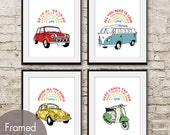 Beetles Car Art Series - Set of 4 ART Print (Featured in assorted colors) Beatles Song Art Prints / Vintage Cards