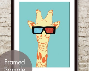 3D Giraffe (Giraffe with 3D Glasses) ART Print (Featured in Happy Blue ) Buy 3 Get One Free