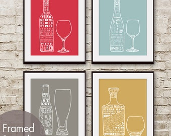 Red Wine, White Wine, Beer and Whiskey (Top Shelf Alcohol Series) Set of 4-  Art Prints (Featured in Assorted Colors)