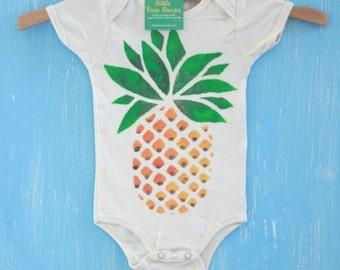 pineapple, organic hand painted baby onesie or children's t-shirt
