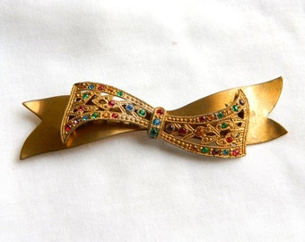 Vintage French Paste Rhinestone Ribbon Brooch - Red Blue Green Orange - 1930 - Classic Beauty