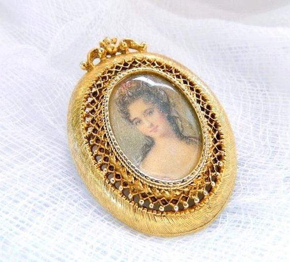 Vintage FLORENZA Gold Victorian Portrait Cameo Brooch - Locket - SIGNED - 1950