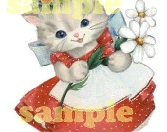 Vintage cat/ kitten  Y1 Digital vintage greeting card image,  Printable, download