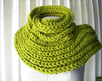 English Rib Brioche HAND Knit Scarf in LEMONGRASS  Soft Acrylic Lamb Wool