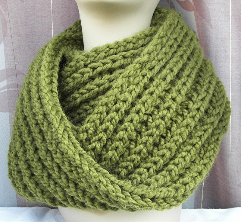 Chunky HAND Knit Scarf in Cilantro Green Rib pattern Machine