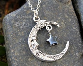 Wise moon & star necklace - Crescent man on the moon silver charm, black hematite gemstone star - Free shipping USA