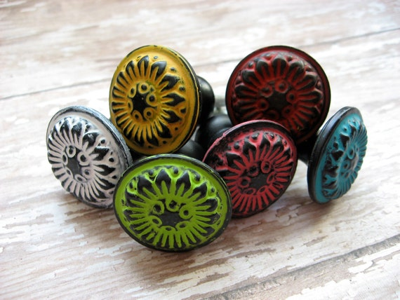 Set of 18 Turquoise Blue Other Color Choice is Yours and Black Floral Knobs or Flower Cottage Style Pulls for your Drawers or Cabinets