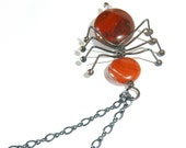 Spider Necklace - Red Jasper and Oxidized Sterling Silver - Spider Jewelry -  tagt