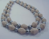 Pink and grey double stranded necklace