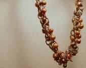 Chunky tangled freshwater pearl and chain choker