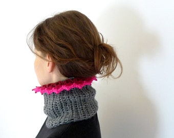 Crochet Cowl, Neck Warmer, Headband, Neck Scarf, Ethnic Cowl, Wool Cowl, Winter Accessories - Gray, Grey, Neon Pink Lace Trim Beaded