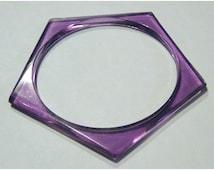 Vintage Purple Bangle Bracelet Beads 1960s Antique Gogo 60s Geometric Mod Style