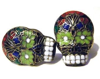 Skull Post Earrings Gothic Skeleton Black Red Blue Enamel Day of the Dead