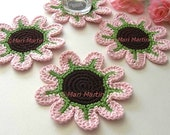 Crochet Coasters Daisy Rose Flowers Pink . Green Brown, Love Petal Decor Crochet Spring Garden Collection - Set of 4
