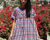 Awesome Huipil Folk Art Gypsy Hand Embroidered Poncho Circa 1960s 1970s