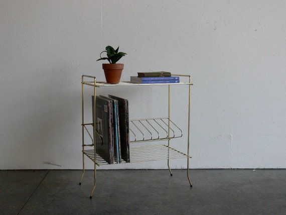 Vintage Mid Century Modern Vinyl Record Stand/Shelf