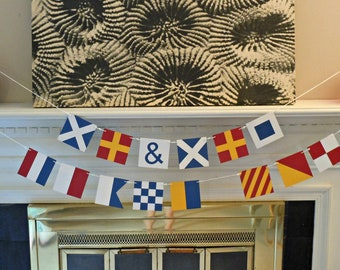 Custom Nautical Flag Paper Banners - Wedding Themed Package