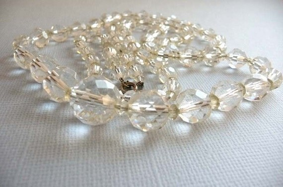 Opera Length Vintage Clear Faceted Crystal Bead Necklace