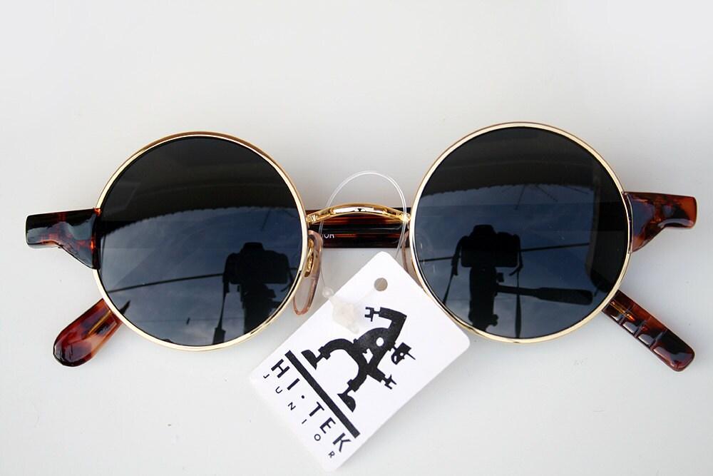 Vintage Round Gold Frame Sunglasses : vintage round sunglasses metal frame plastic temples Goth