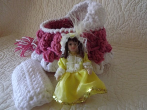Crocheted Cradle Church Purse with Porcelain Doll