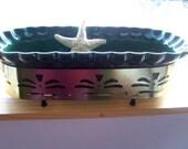 Vintage California Pottery Planter - Deep Green on Gold Metal Stand..Kitchen Kitsch Herb Garden Flowers Candles